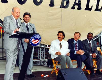 Larry Morrow at new Cleveland Browns Stadium with Al Lerner, Carmen Policy, and Cleveland Mayors  Mike White, George Voinovich