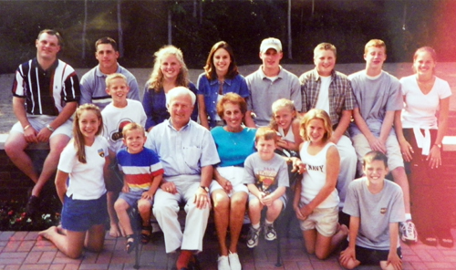 Nacy and Rosemary Panzica with 15 of the 16 grandkids in June 1999