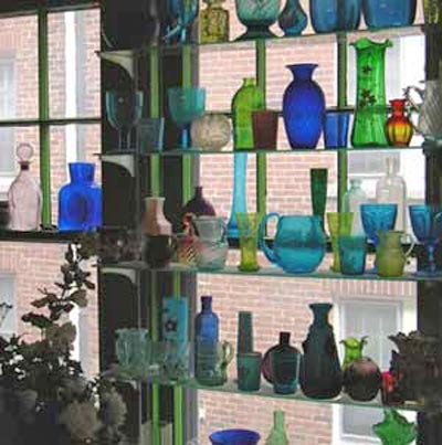 Part of Richard Gildenmeister's glass collection