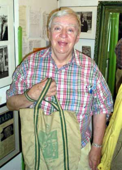 Richard Gildenmeister with bag from his store