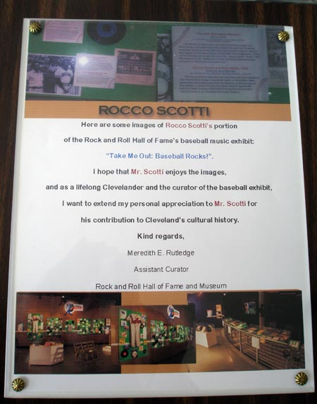 Rocco Scotti display at Rock and Roll Hall of Fame