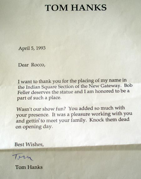 Tom Hanks letter to Rocco Scotti in 1993