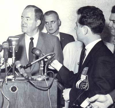 WHK's Tim Taylor with Vice President Hubert H Humphrey in Cleveland