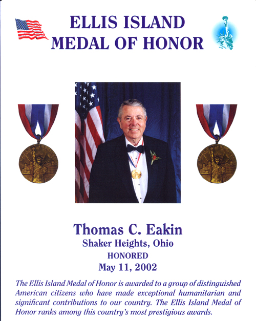 Ellis Island Medal of Honor - Tom Eakin