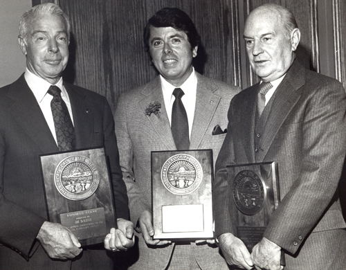 Joe DiMaggio, Tom Eakin and Paul Brown on February 8, 1979 when all 3 received the 1978 Ohio Governor's Award