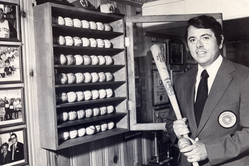 Tom Eakin with baseball memorabilia