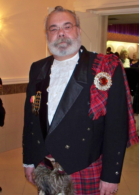 Tony Sumodi in Scottish clan clothes