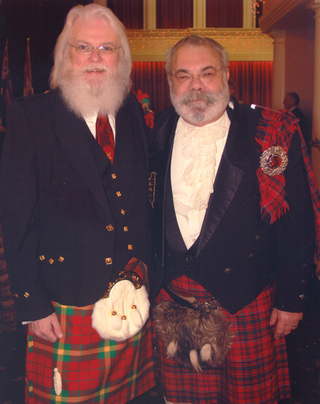 Tony and friend in Scottish garb