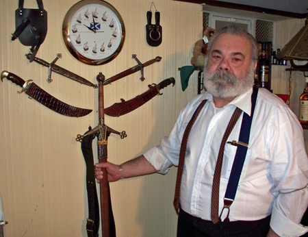 Tony Sumodi with swords and knives