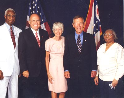 Virgil Brown, New York Mayor Rudy Giuliani, Janet and George Voinovich and Lurtissia Brown