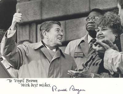 President Ronald Reagan and Virgil Brown